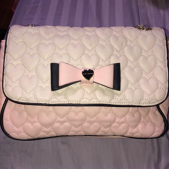 Betsey Johnson Handbags - Betsey Johnson pink and off white purse